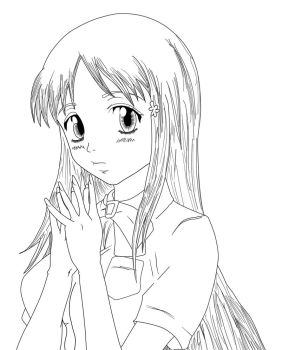 Inoue Orihime Lineart by Barbicanboy