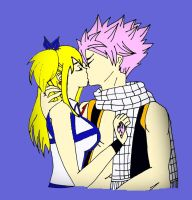 Natsu and Lucy Kiss (Colored) by JHERUS