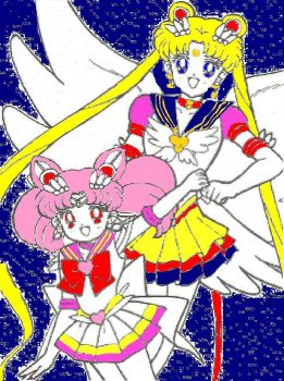 Sailor Moon and Chibi Moon by QueenSerenity101