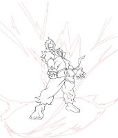 ryu powering up lineart by Stainless-x
