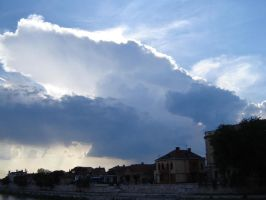 sky over the city of Nis serbi by painted-in-blue