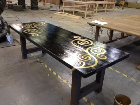 faux ebonised table copper inlay by manimaldave