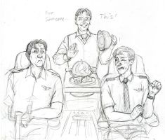 Cabin Pressure Orange Platter sketch by coloristjen