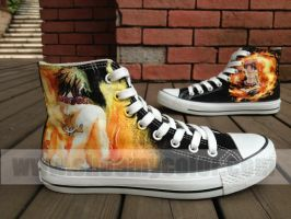 Portgas D. Ace One Piece shoes hand painted by elleflynn