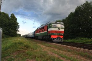 TEP70 With Passanger Train. by Teplovoznik