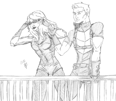 Hawkeye and Black Canary by Starlightracer