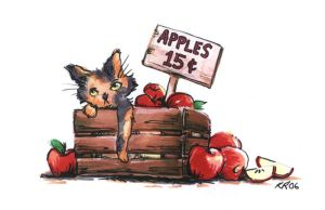 Cat and Apples by KelliRoos