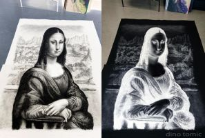 Mona Lisa Perspective Inverted Salt Portrait by AtomiccircuS