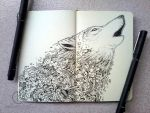 MOLESKINE DOODLES: Wolf Cry by kerbyrosanes