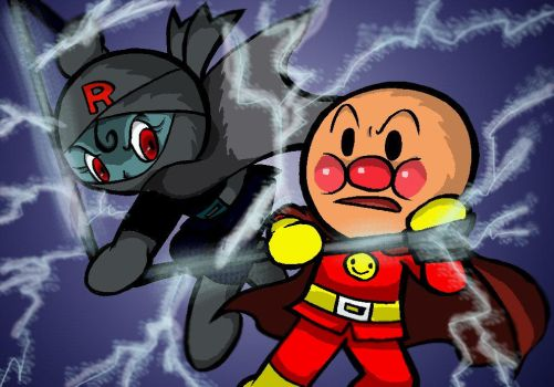 Anpanman and Black Rollpanna by Yang-Mei