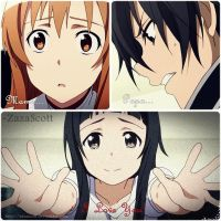 Kirito Asuna and Yui - DeviantART by ZazaScott