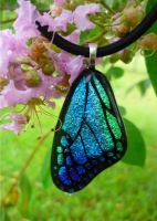 Blue Mix Fused Glass Wing by FusedElegance