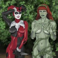 Harley Quinn and Poison Ivy by deanhsieh