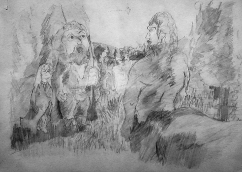 Hagrid, Hermione, Harry, Centaurus Dark Forest HP1 by Nestor-91
