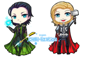 CHIBI-lization: Loki and Thor by chevalier16