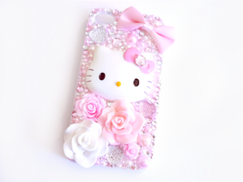 Pink and White Hello Kitty iPhone 4/4s Case by Kuppiecake