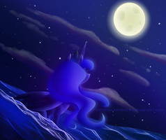 Luna in the water by SilentWulv