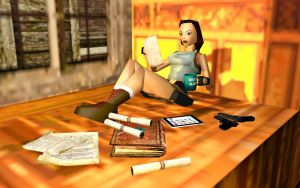Lara studying old scrolls by Darkkitzune87
