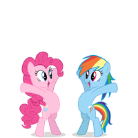 Pinkie and Dashie Hug by morginthehedgehog
