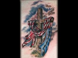 Cross with American Flag Tattoo by Sean Ambrose by seanspoison