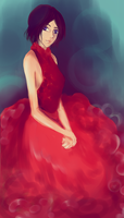 Clothes drawing training: Rukia in red dress by McFearless1810