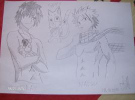 Gray , Happy and Natsu by Wolvergirl