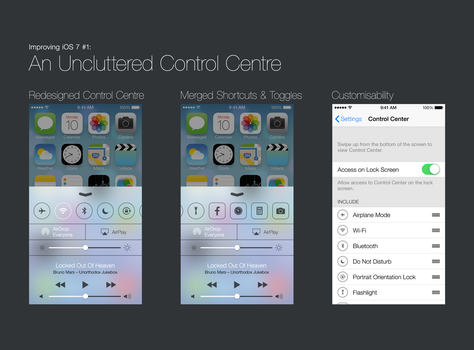 Improving iOS 7 #1: An Uncluttered Control Centre by theIntensePlayer