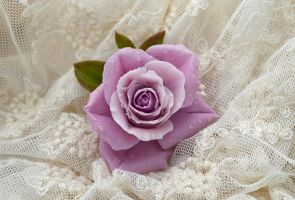 Brooch with lilac rose by AugustaYellow