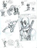 Deadpool doodles by TyrineCarver