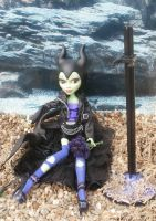 monster high custom repaint daughter of maleficent by Rach-Hells-Dollhaus