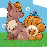 Vulpix and the butterfly by Kirame90