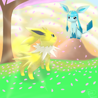 Valentine's Day- Glaceon x Jolteon by Bluekiss131
