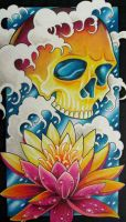 skull and lotus by GrizzlyGreenEyes