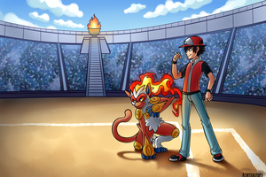 Infernape and Ash Commission by PrinceofSpirits