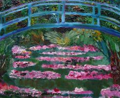 Bridge over a lily pond by Haleema-A