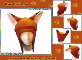 Brown Fox Fleece Aviator Hat by AnimeNomNoms