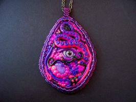 Neon Eye Tentacle Pendant by dogzillalives