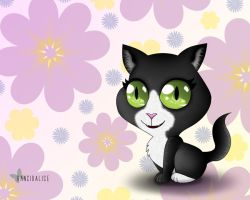 Chibi Cat Wallpaper by RancidAlice