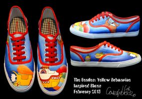 Yellow Submarine Inspired Shoes by caseyhoke