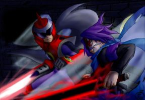 Sabata VS Protoman: cross over by maruringo