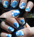 blue paisley nails by xtheungodx