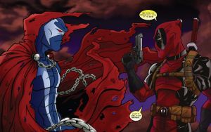 Spawn vs Deadpool by CaptainUnobservant