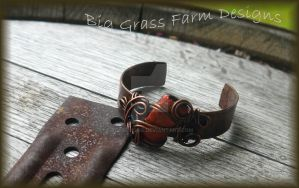 Dichroic Glass and Copper Bracelet by bgfdesigns