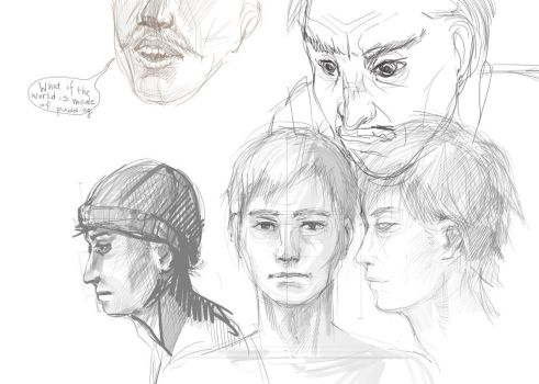 Manly Faces Study by EwaLabak