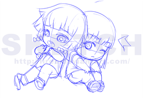 Commission: Kiku and Kyo WIP by lires