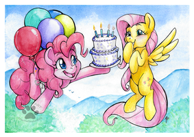 Pinkie Pie and Fluttershy by IceCatDemon