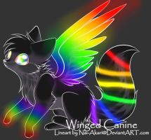 Rainbow Winged Canine Adopt: CLOSED by Inner-Realm-Adopts