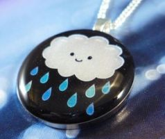 Rain Cloud Round Pendant by luminarydreams