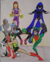 Teen Titans group plus OC Jade by DarthJader11