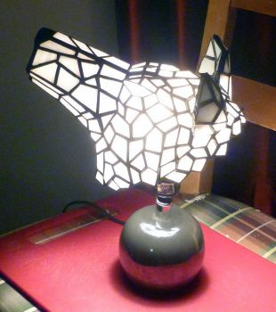 Stained Glass Princess Mononoke Wolf Desk Lamp by mclanesmemories